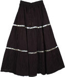 Black Hippie Cotton Long Skirt