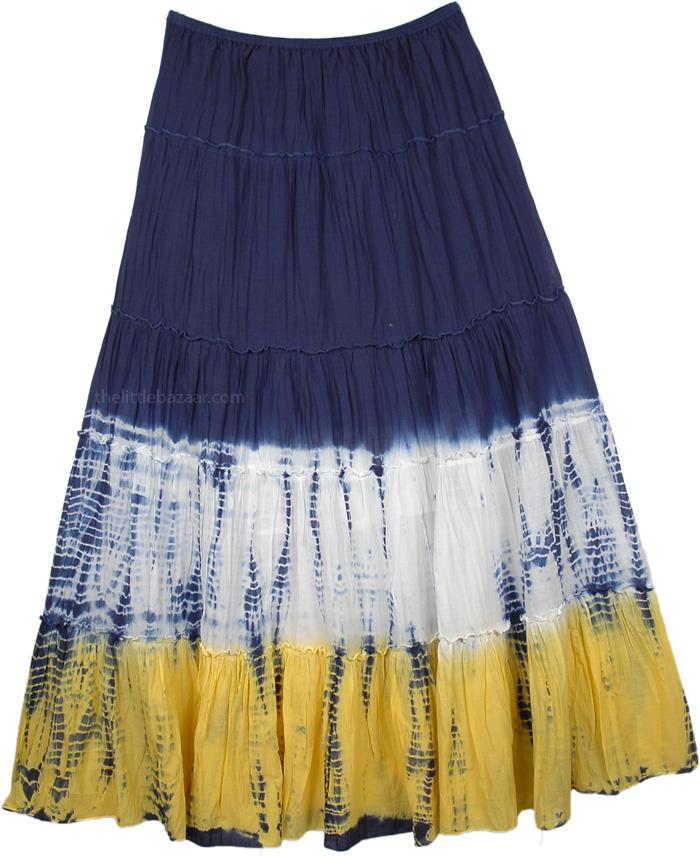Dip-dye Crinkle Colorblock Long Skirt , Charades Casual Long Skirt