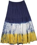 Dip-dye Crinkle Colorblock Long Skirt  [3538]