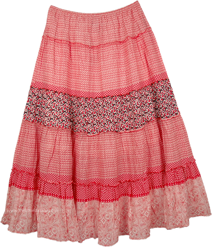 Maxi White Red Long Skirt, El Savador Tiered Maxi Skirt