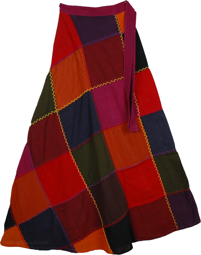 Dark Squares Wrap Around Skirt, Dark Patchwork Wrap Around Fashion Skirt