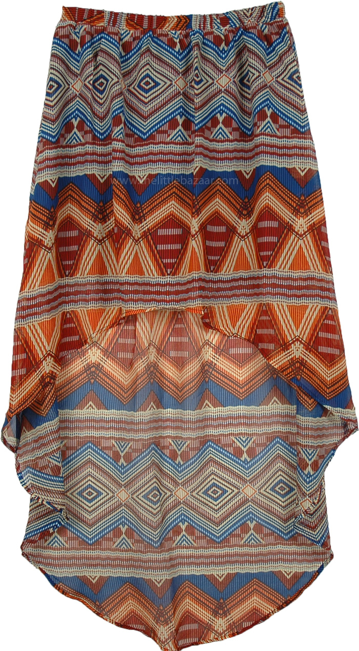 Colorful Summer Uneven Skirt, Geo Print Hi Low Skirt