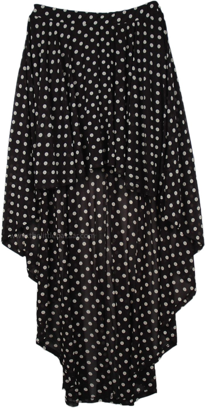 Black White Polka Dot Hi Low Skirt, Polka Dot High Low Skirt