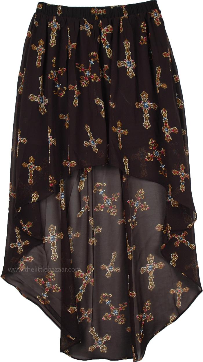 Dressy Cross Print Hi-Low Skirt, Hi Low Bejeweled Long Skirt