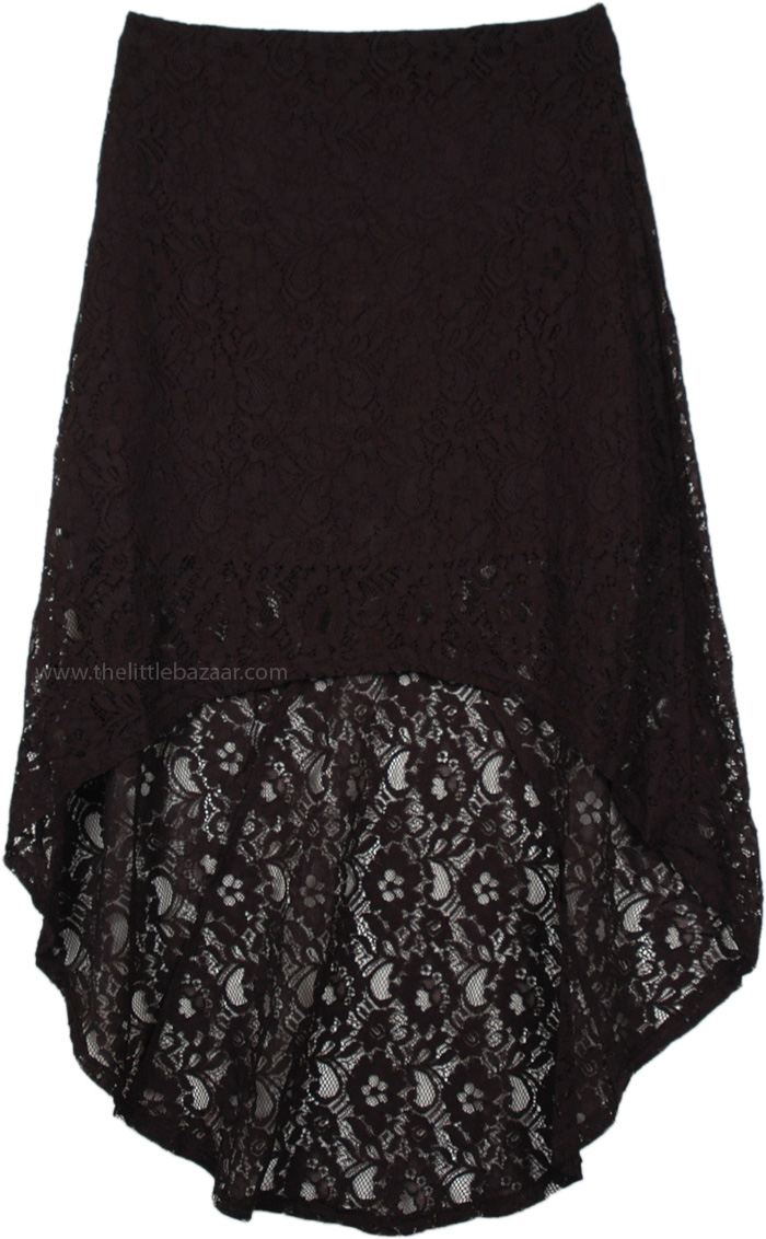 Dressy Black Lace Hi-Low Skirt, Hi Low Black Lace Skirt