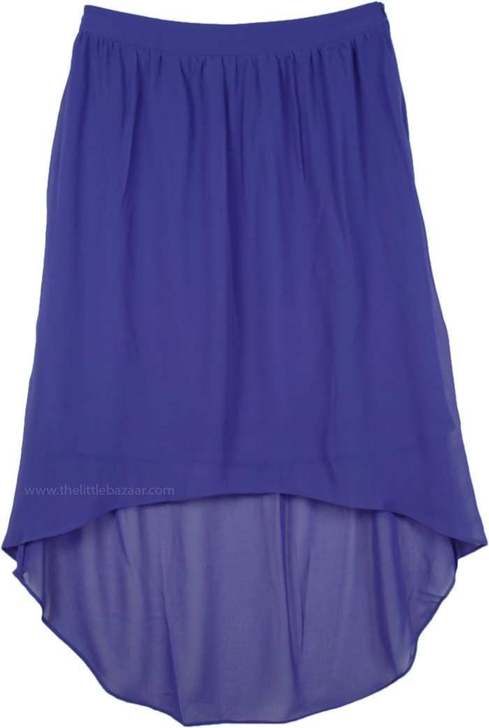 Beautiful Blue Hi Low Hem Sexy Skirt, Blue Violet Hi Low Skirt