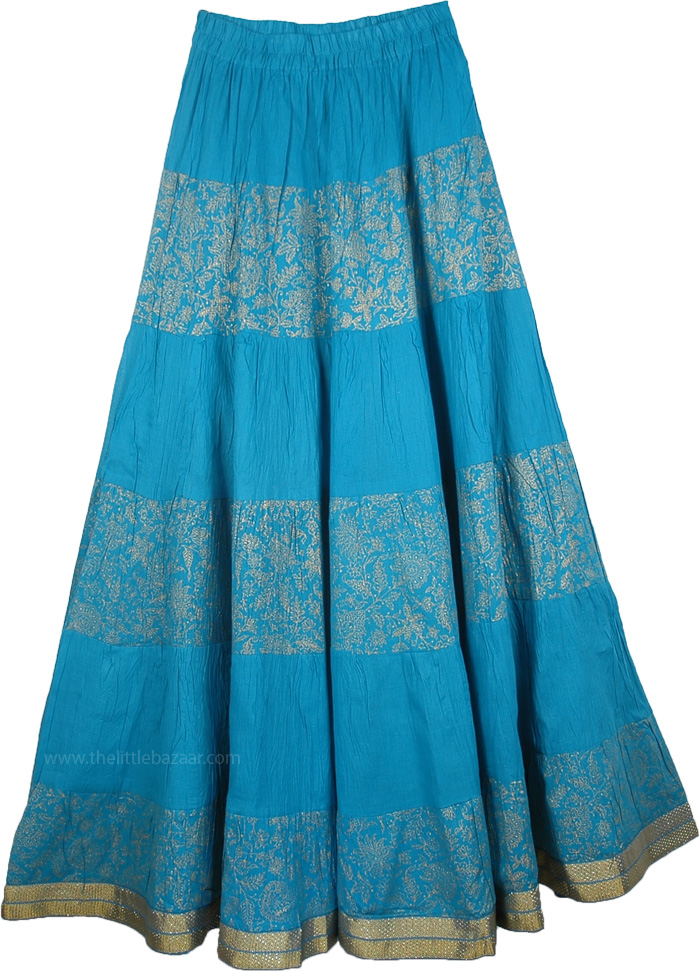 Crinkle long skirt in Blue Golden, Crinkle Tall Summer Skirt in Blue with Golden Print