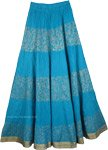 Crinkle long skirt in Blue Golden [3570]