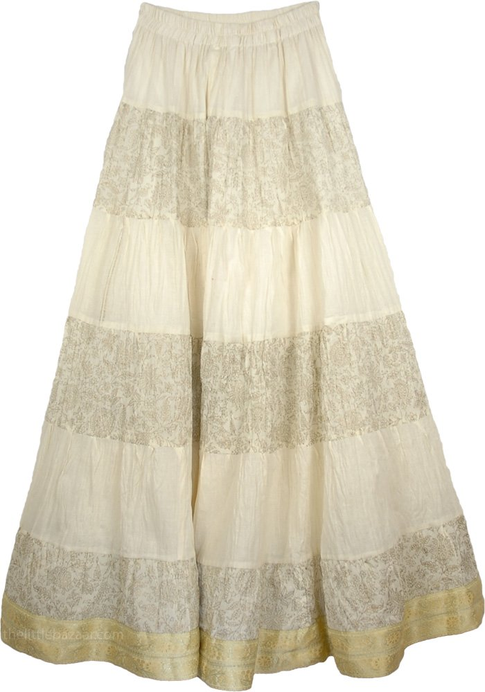 Yellow Crinkle Long Indian Skirt, Cream Majestic Crinkle Tall Skirt