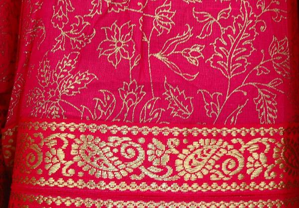 Long Crinkled Cotton Cardinal Skirt