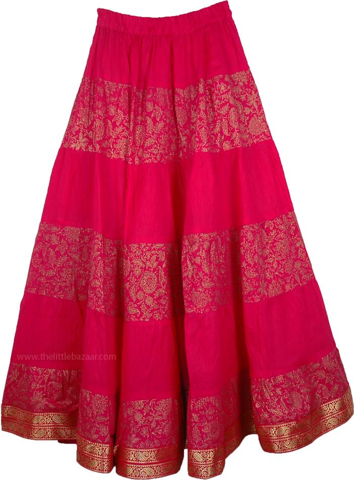 Crinkle Long Skirt In Shiraz, Long Crinkled Cotton Cardinal Skirt