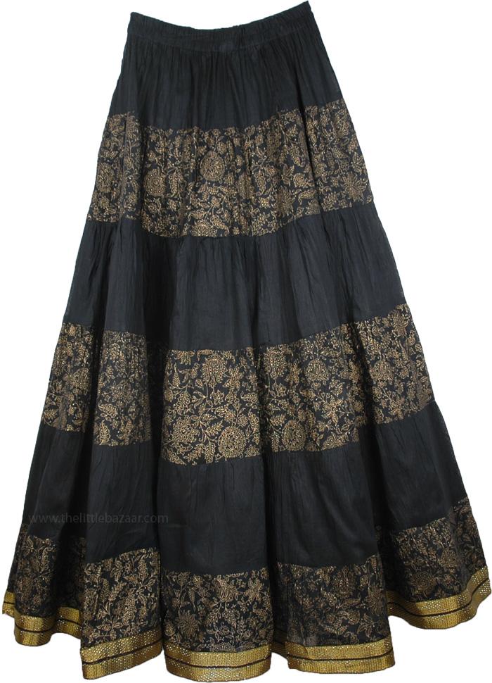 Black Crinkle Long Indian Skirt, Woodsmoke Black Crinkle Tall Skirt
