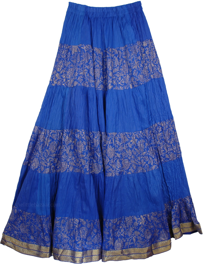 Blue Crinkle Long Indian Skirt, True Blue Crinkle Tall Skirt