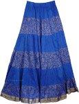 Blue Crinkle Long Indian Skirt [3575]