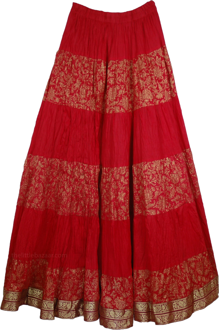 Red Crinkle Long Indian Skirt, Crinkle Tall Skirt Monza Red