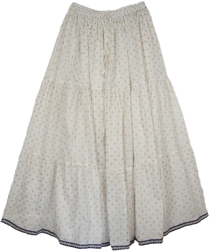 White Crinkle Long Indian Skirt, White Royal Crinkle Long Skirt