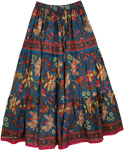 Spring Floral Print Cotton Full Skirt