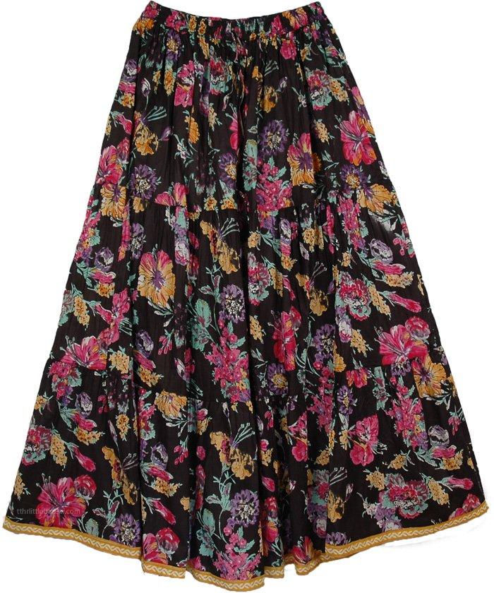 Cotton Heavy Floral Skirt, Night Flowers Womens Long Skirt