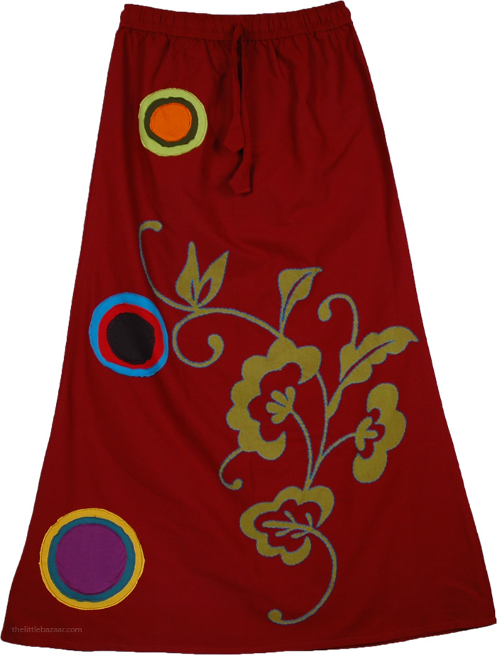 Appliqued Burgundy Skirt, Dark Burgundy Fall Skirt