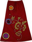 Appliqued Burgundy Skirt [3590]