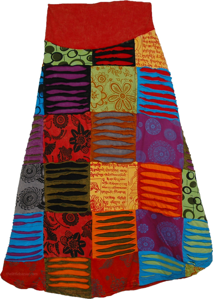 Ethnic Patchwork Nirvana Skirt, Haute Hippie Razor Tabasco Skirt