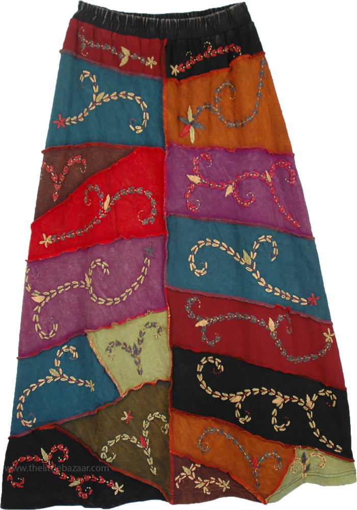 Himalaya Inspired Embroidered Long Skirt, Himalayan inspired Hippie Skirt
