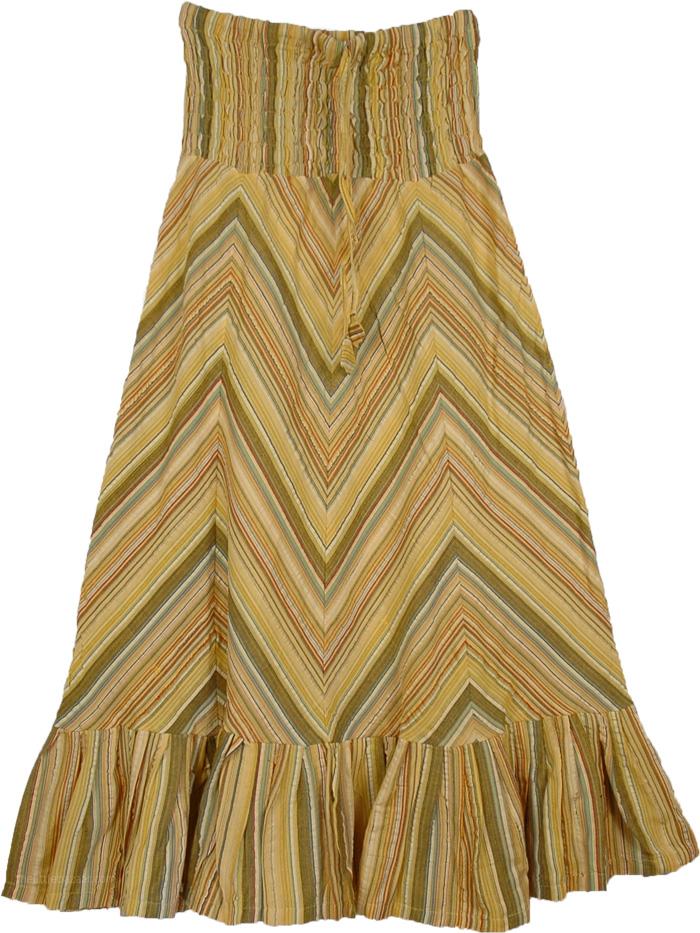 Smocked Band Cotton Skirt, Zig Zag Fancy Petite Small Summer Skirt