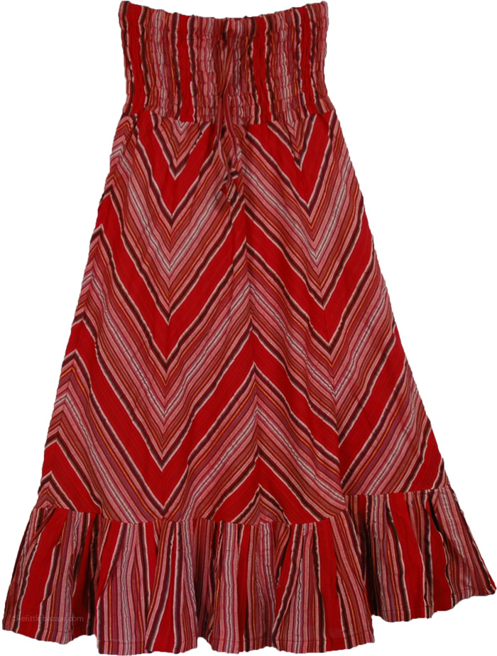 Straight Small Cotton Skirt, Red Riding Straight Skirt
