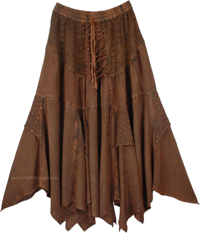 Dark Brown Skirt In Acid Wash Look , Irish Coffee Handkerchief Hem Skirt