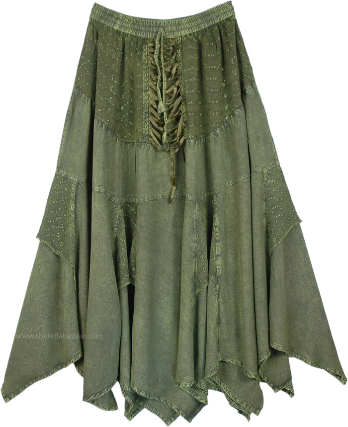 Asparagus Colored Skirt In Acid Wash Look , Olive Drab Renaissance Chic Skirt