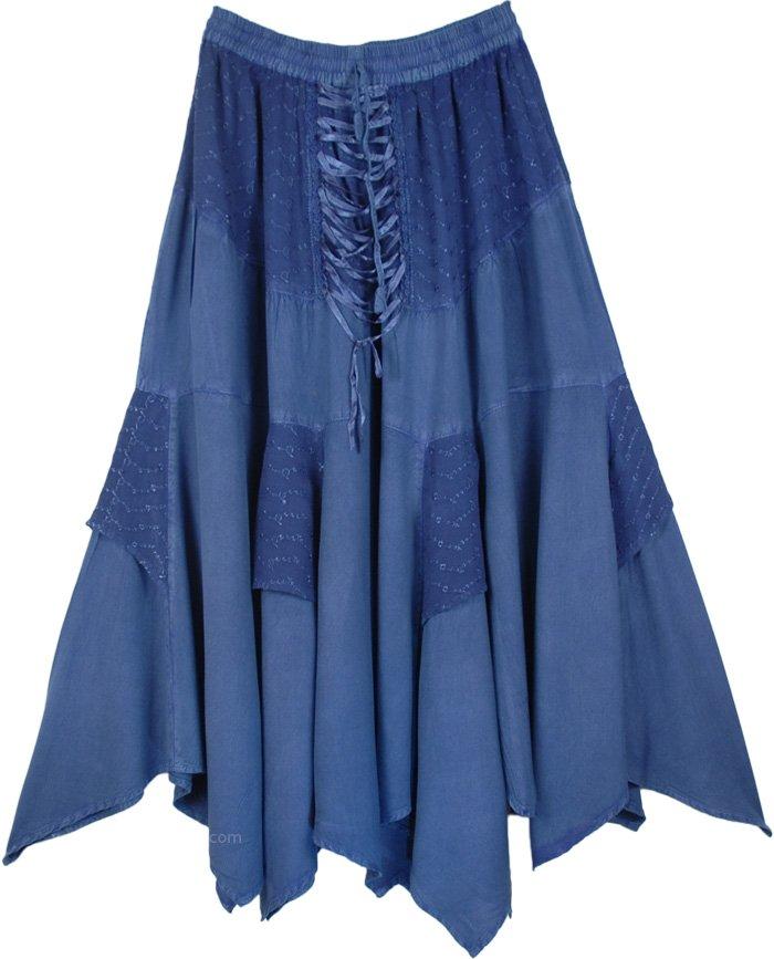 Fun Blue Colored Skirt In Acid Wash Look , San Marino Asymmetrical Hem Boho Skirt
