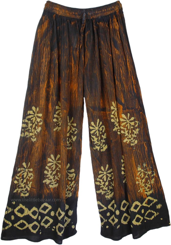Hippie Ethnic Palazzo Batik Pants, Wide Leg Batik Printed Boho Pants