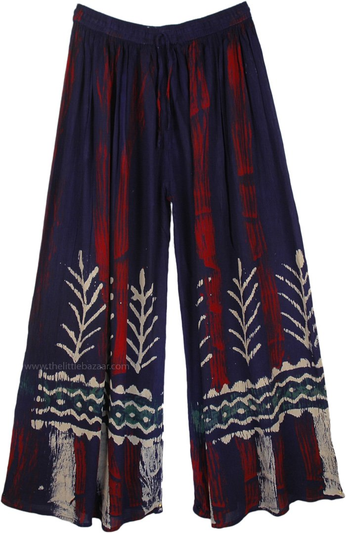 Navy Blue Tie Dye Crinkle Long Pants, Tie Dye Batik Long Pants