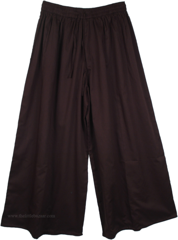 Summer Black Split Pant Skirts, Night Rider Wide Leg Split Pant Skirt