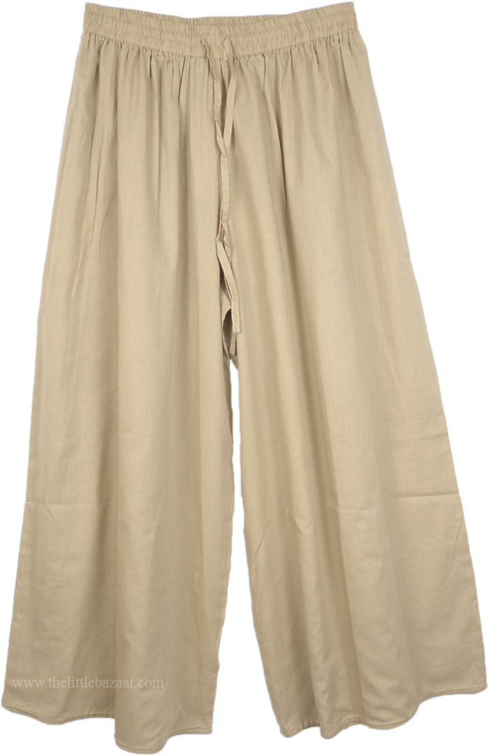 Summer Brown Split Pant Skirts, Sorrell Brown Wide Leg Split Pant Skirt