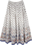 Eastern Art Floral Long White Skirt with Blue Hem Border