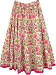 Pink Dahlia Floral White Cotton Skirt For Summers