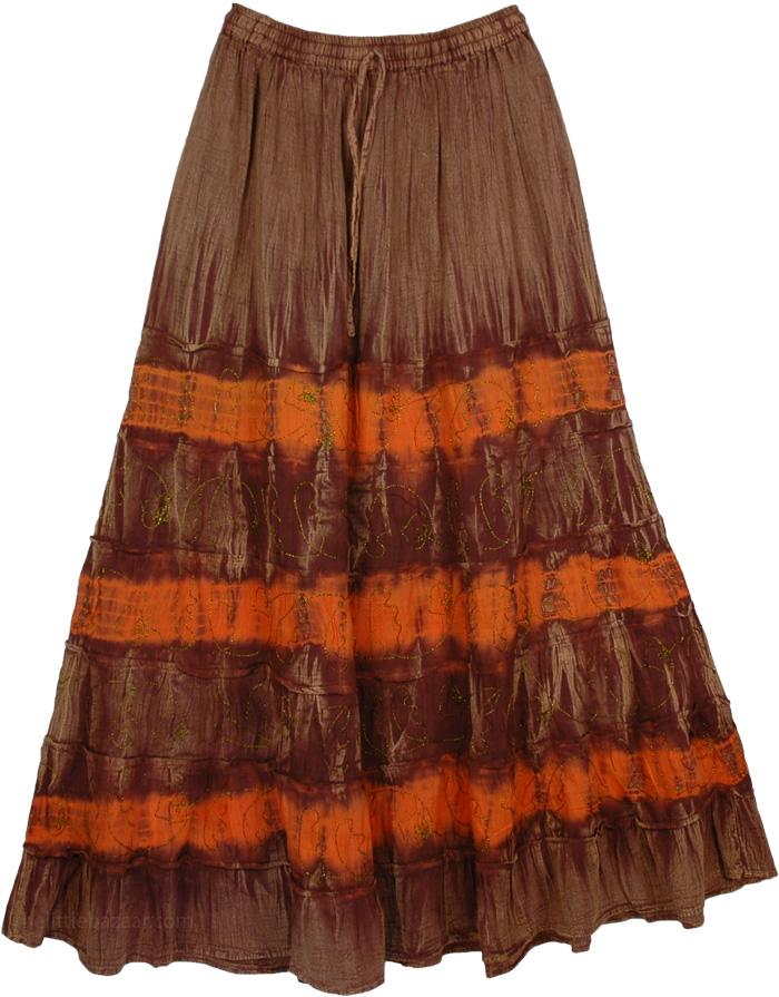 Brown Stone Wash Skirt with Gold Embroidery, Xena Stonewash Glow Gorgeous Skirt