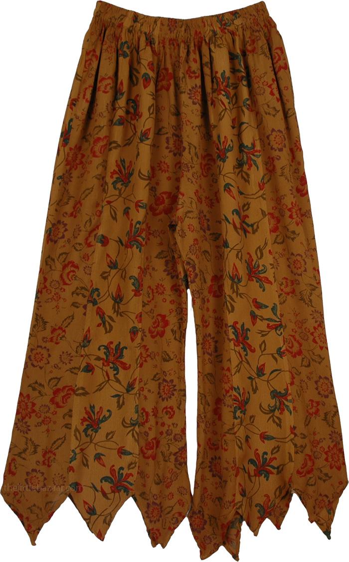Uneven Long Brown Pants, Boho Scallops Karma Split Skirt Pants
