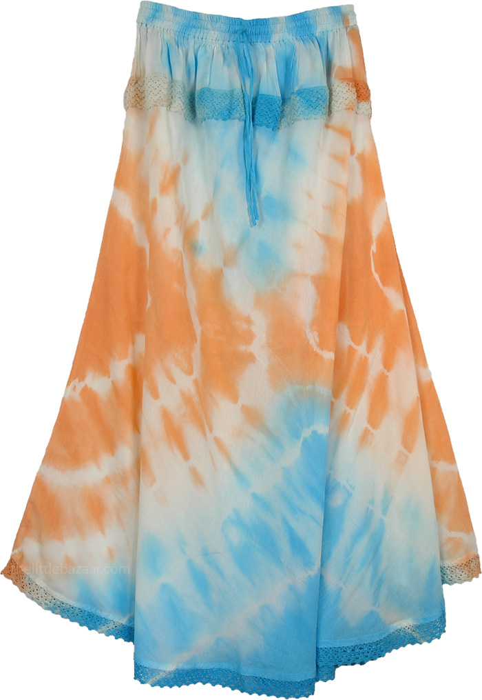 Beach Fashion Tie Dye Fashion Skirt, Swanky Orange Beachy Blue Long Skirt