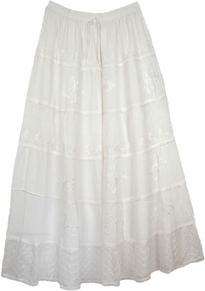 White Skirt with Crochet Embroidery, White Decor Crepe Maxi Skirt
