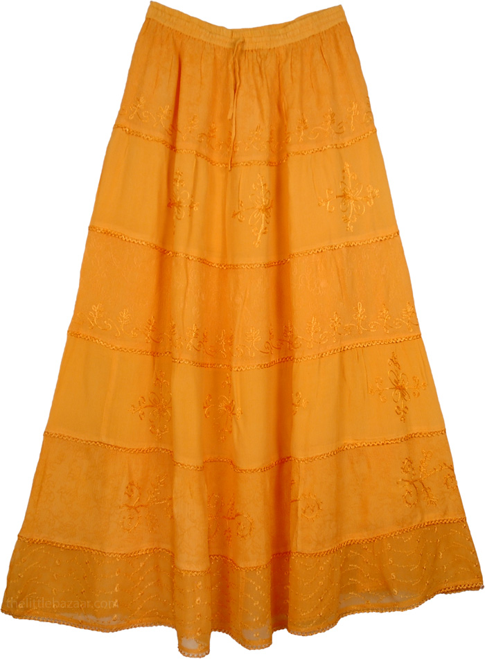Orange Skirt with Embroidery, Orange Queen Crepe Skirt