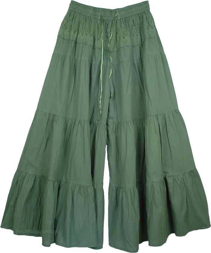 Dark Green Split Pant Skirts, Glade Green Palazzo Gaucho Split Skirt