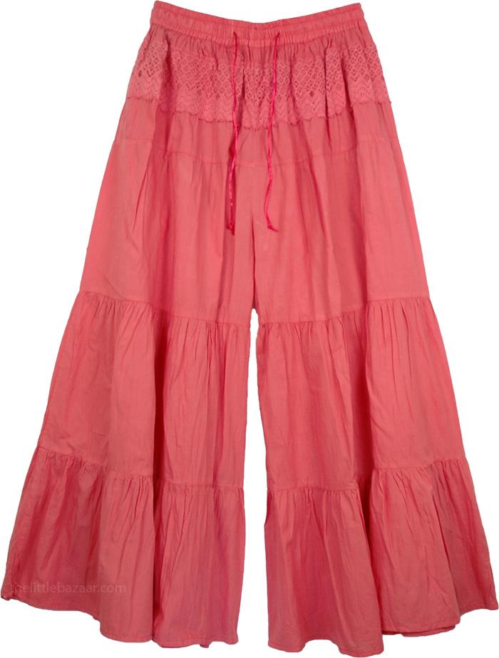Pink Gaucho Pant Skirts, Bittersweet Pink Culottes Split Skirt Pink