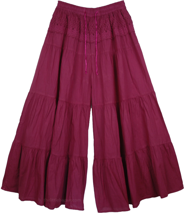 Dark Purple Split Pant Skirts, Chili Pepper Purple Palazzo Split Skirt