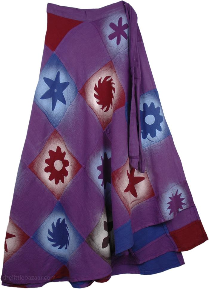 Patchwork Violet Spray Painted Wrap Around Skirt, Purple Magic Wrap Around Skirt