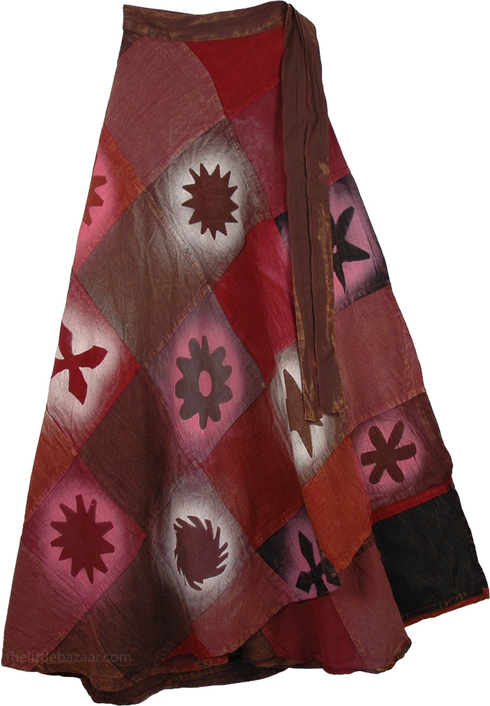 Patchwork Red Wrap Around Skirt, Serene Lotus Wrap Bohemian Skirt