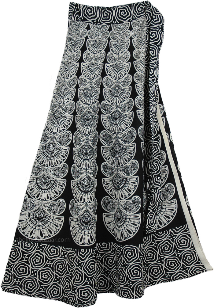 Indian Cotton Long White Skirt With Ethnic Print, Black and White Pattern Skirt