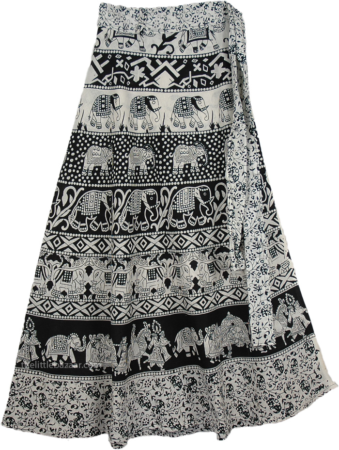 Black White Medium Length Skirt, Majestic Black White Wrap Long Skirt