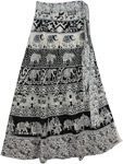 Majestic Black White Wrap Long Skirt